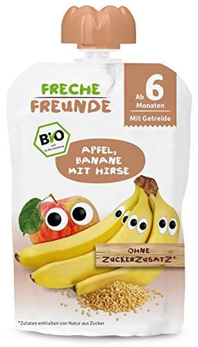 Freche Freunde Bio Beikost-Quetschie Apfel, Banane mit Hirse, Babynahrung ab dem 6. Monat, glutenfrei & vegan, 6er Pack (6 x 100g)