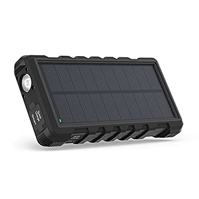 Solar Phone Charger RAVPower 25000mAh Outdoor Portable Charger with 3 USB Ports, Solar Power Bank with Micro USB & USB C Inputs, External Battery Pack with Flashlight - Shock, Dust & Waterproof