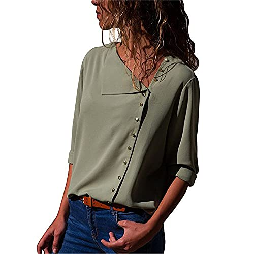 Camisa Mujer Elegante Manga Larga Botón Decoración Camisa Mujer Color Sólido Trabajo Informal Moda Tops Mujer Primavera Verano Sueltos Gasa Mujer Tops E-Green 3XL