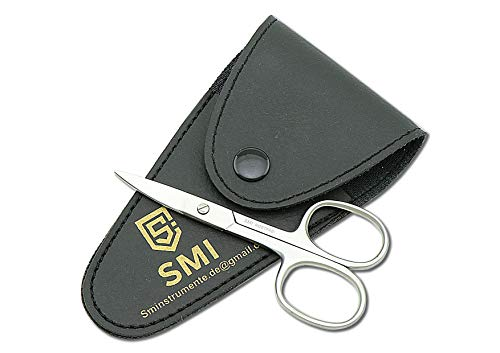 SMI - 9,3 cm Zurdo Tijeras para cutículas zurdas Tijeras para uñas Punta fina curva Pedicur manicura acero inoxidable de alta calidad
