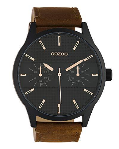Oozoo Herrenuhr Chrono Look mit Lederband 48 MM Schwarz/Braun C10538