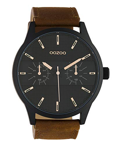 Oozoo herenhorloge chrono look met lederen band 48 MM zwart/bruin C10538
