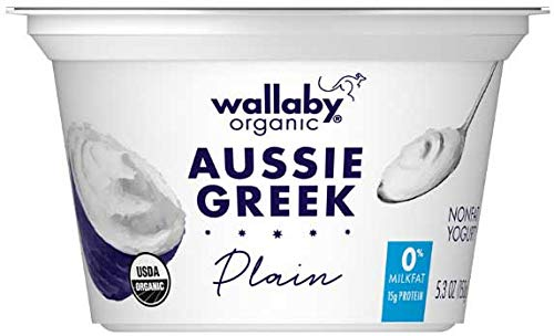 Wallaby Organic Plain Nonfat Greek Yogurt, 5.3 Ounce -- 12 per case.