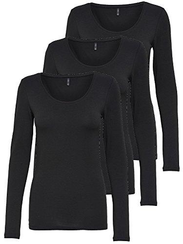 ONLY 3er Pack Damen Langarmshirt schwarz und weiß Langarm Basic Longsleeve Sommer aus 95% Baumwolle XS S M L XL 15209156 (3er Pack schwarz, S)