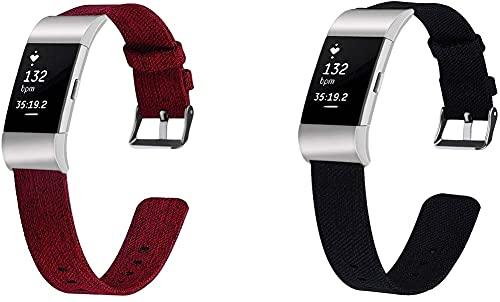 Lienzo Rápida Liberación Reloj de Reemplazo Banda Compatible con Fitbit Charge 2, Correas de los Hombres de Las Mujeres (Pattern 4+Pattern 6)