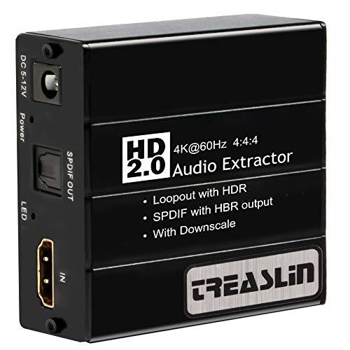 TreasLin HDMI 2.0 Audio-Extraktor 4K@60Hz YUV 4: 4: 4 und HDR-Adapter HDMI zu optischem Toslink SPDIF + R/L (RCA) für Blu-ray Player X PS4 Pro Laptop-Projektor HDTV,TSV360
