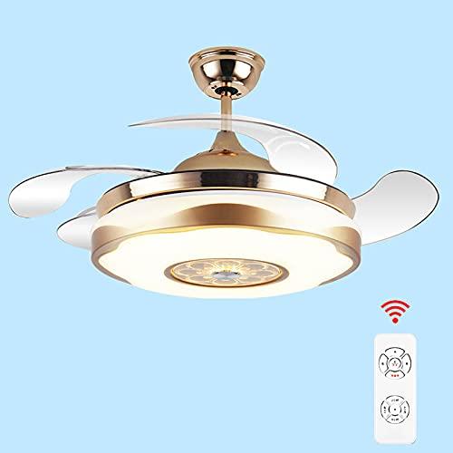 Lámpara De Ventilador Sala De Estar Techo Ventilador De Techo Invisible Lámpara Comedor Habitación Dormitorio Three Color Tres Velocidad Hogar Eléctrico Fan Aparador,7,55in