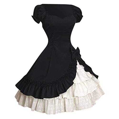 WOZOW Costume Robe Gâteau Jupe Femmes Gothique Tribunal Dentelle Collision Carnaval Dames Médiévale Cosplay Rétro Reine Robes De Soirée(Noir,S)