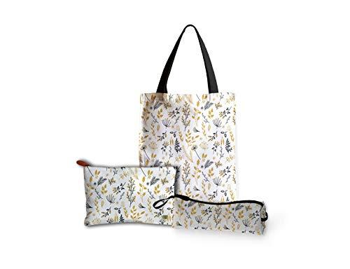 Printelligent Design Women's Canvas Tote Bag Zipper Pouch Pencil Pouch Combo Gift Pack - Multicolor
