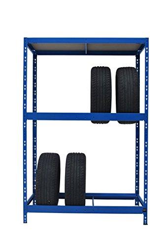 Reifenregal | ✓ 179 x 130 x 50 cm | blau ✓ Werkstattregal Reifenständer Metallregal Garagenregal Kellerregal