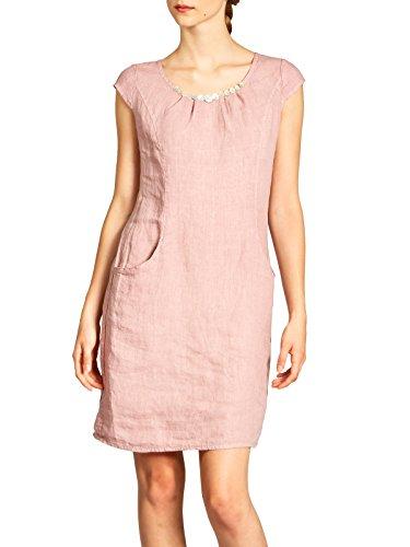 Caspar SKL018 knielanges Damen Sommer Leinenkleid mit Perlmutt Knöpfe Dekor, Farbe:rosa, Größe:XL - DE42 UK14 IT46 ES44 US12