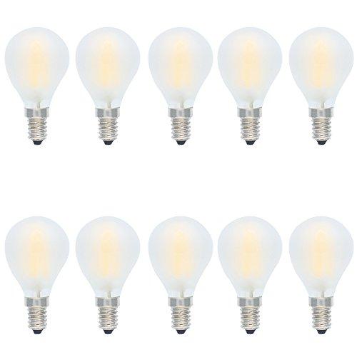 10er E14 LED Lampe Tropfenform Dimmbar 4W Fadenlampe Filament Birne,Ersetzt 30 Watt Glühbirnen,Warmweiß 2700K,AC 220V