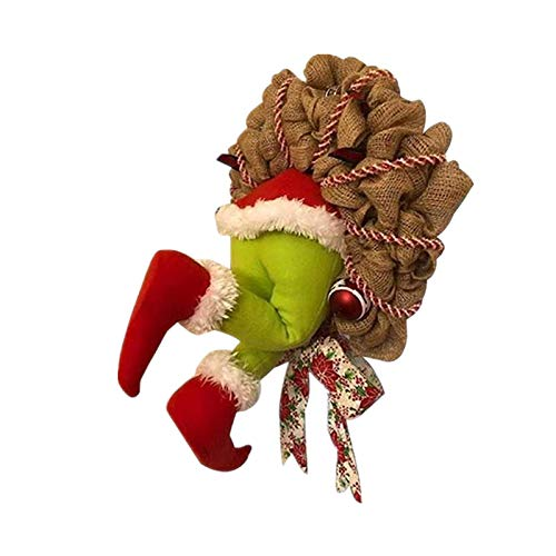 Christmas Thief Stole Christmas Wreath- with Pose able Plush Legs, for Christmas & Thanksgivings Indoor Decoration