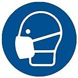 HERMA 12923 Hinweis Aufkleber Mundschutz tragen 5er Set (Ø 20 cm, 5 Blatt, Polyesterfolie) selbstklebend, wetterfest, rückstandsfrei ablösbare Hinweisschilder, blau