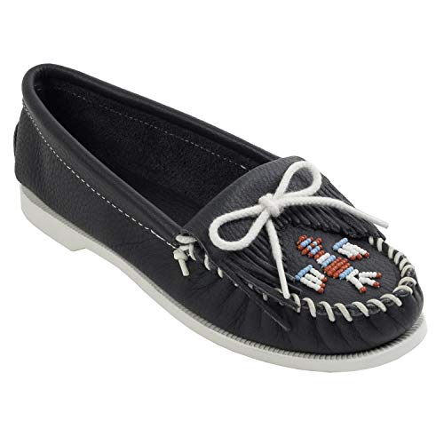 Minnetonka Women's Thunderbird Smooth Moccasin,9 M US,Navy