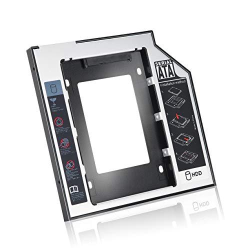 NewIncorrupt Caddy de Disco Duro SATA Segundo HDD SSD de Aluminio Universal de 9,5 mm con 4 Tornillos para Adaptador de bahía óptica de CD / DVD-ROM