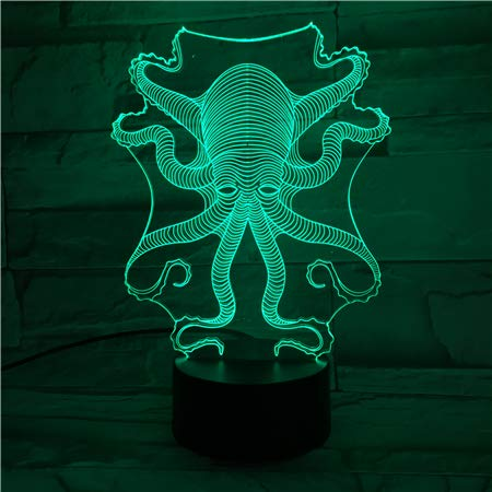 Kit de pulpo animal octopus 3D LED Night Light USB Lámpara de mesa Niños Regalo de cumpleaños Decoración de la cabecera del hogar