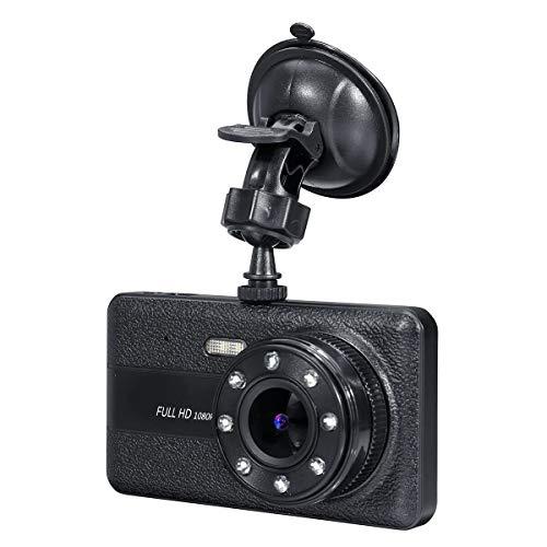 Dash Cam, 1080P pantalla táctil de doble lente frontal y trasera HD Dash Cam con detección de movimiento, sensor G, balance de blancos anti-sacudidas