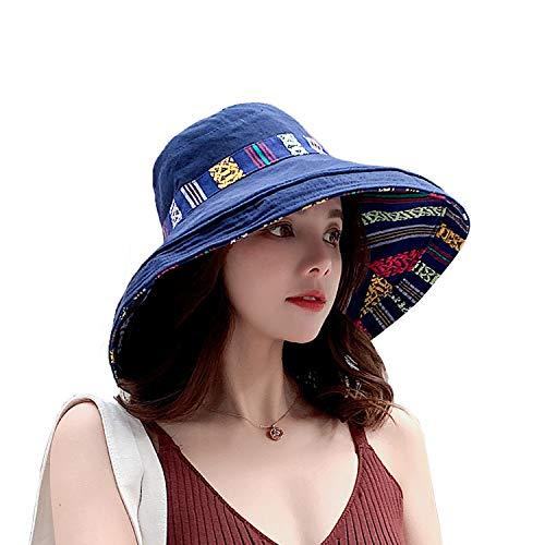 TAGVO Donna Cappello da Sole Cappello Pescatore Tesa Largo UV Protezione Pieghevole Visiera Parasole Cappello con Cinturino per Il Mento Staccabile