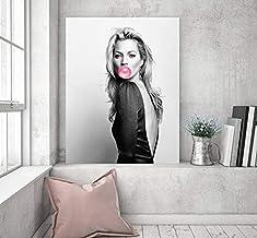 REDWPQ Cartel Kate Bubble Gum Arte de la Pared Moda Impresión Maquillaje Powder Room Celebridades Blanco y Negro Decoración del hogar Lienzo Pintura 40X60Cm Sin Marco
