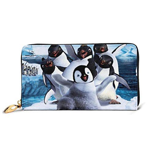 AOOEDM Happy Feet Brieftasche Reißverschluss um Leder Brieftasche Visitenkartenhalter Aufbewahrungstasche, Kartentasche Wechsel Aufbewahrung