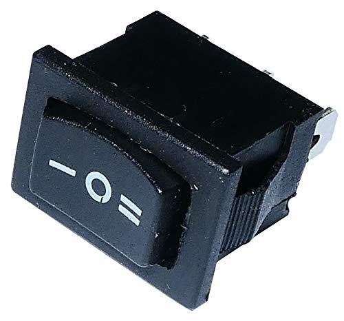 Aerzetix: Unterbrecher, Schalter Knopfschalter Switch Kippschalter Druckschalter SP3T ON-OFF-ON 3A/250V Schwarz 3 Positionen
