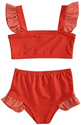 YIXING Girl's Two Piece Swimsuit, Children's Patchwork Ruffle Shoulder Vest High Waist Swimming Shorts for Kids (Color : A, Kid Size : 18M)