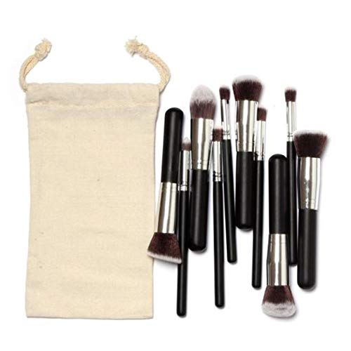 MEIYY Pinceau de maquillage 10Pcs Cosmetic Makeup Brushes Set Powder Foundation Face Concealer Contour Make Up Brushes Nylon Hair With Canvas Bag