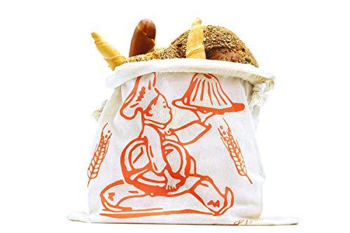 Brotbeutel aus 100{4fcf9a4694b55583d4981557ab573eeeea8da082d172a831961a3a57a1c4d72b} Baumwolle, Brotsack ideal für die Aufbewahrung von Backwaren jeglicher Art für unterwegs oder zuhause, hält Backwaren auf natürliche Art und Weise länger frisch