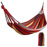 Amaca Swing Cotone per il Campeggio da Viaggio, 1 Persona 190 x 80 cm / Capacità 150 kg Portatile Tela Singolo Altalena in Spiaggia, Patio, Portico, Giardino o Cortile Albero Sospeso All'aperto
