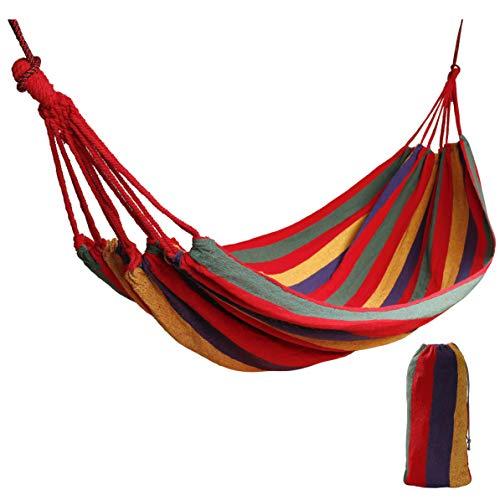 Hängematte Outdoor Baumwolle Für 1 Personen 190 x 80 cm, Belastbarkeit bis 150 kg Tragbare mit Tragetasche, Single Swing Bed in Strand, Terrasse, Veranda, Garten oder Hinterhof Lounging