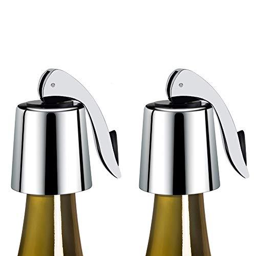 Tapón para botella de vino de acero inoxidable, paquete de 2 tapones para botella de vino con silicona, sellador de botellas reutilizable, para mantener el vino fresco