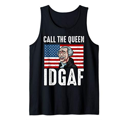 Call The Queen IDGAF Yao Ming Laughing Asian USA Flag Meme Tank Top