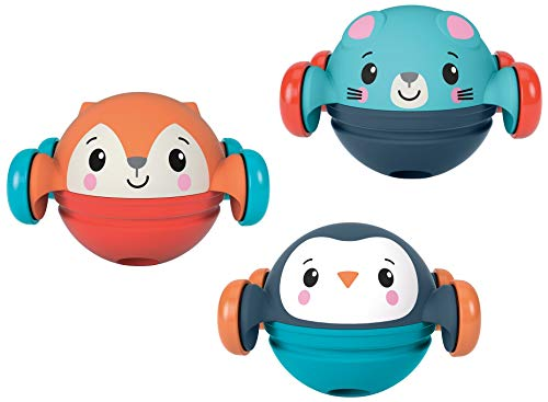 Fisher-Price Roll, Pop & Zoom Friends Gift Set, 3 Animal-Themed, Crawl-After Toy Vehicles for Infants Ages 9 Months and Older