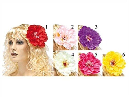 HAAC Hawaii Blüten Blumen Haarblumen rot pink rosa weiß lila oder gelb für Fasching Karneval Party