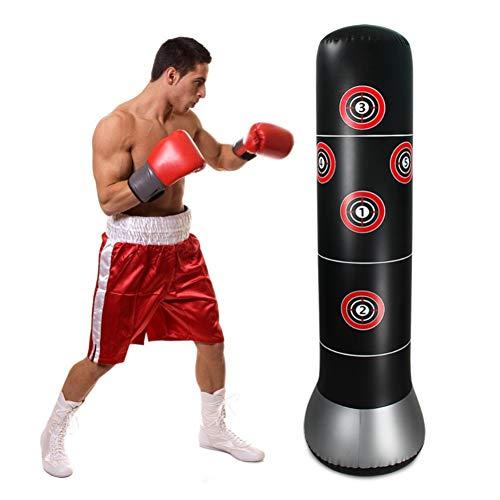 Saco de pancadas inflável MENGXI com alvo de atividades físicas, saco de boxe de altura 155 cm, saco de areia para boxe, Kickboxing, karatê e alívio de estresse