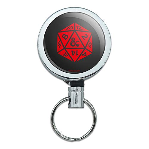 Dungeons & Dragons d20 Dice Heavy Duty Metal Retractable Reel ID Badge Key Card Tag Holder with Belt Clip