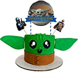 Baby Cute Yoda Cake Toppers Cupcake Toppers The Mandalorian Theme Cake Toppers Star Wars Cake Toppers 3pcs, Star Wars Happy Birthday Cute Yoda Party Supplies Cake Decorations for Star Wars fans, Kids Birthday Party