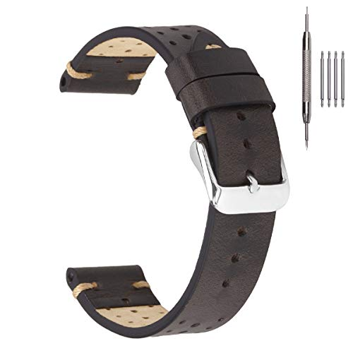 Racing Leather Watch Straps,EACHE Retro Oil Waxed Watch Bands for Men 20mm in Dark Gray