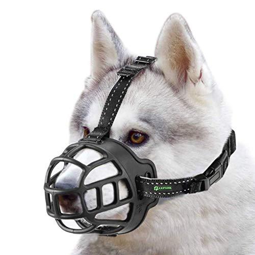 ILEPARK Korbmaulkorb für Hunde, Silikon-Korb Hund Maulkörbe, Atmungsaktiver Rundum-Abdeckung des Und Verstellbare Träger, Verhindert Bellen, Beißen und Kauen. (Größe 5,schwarz)