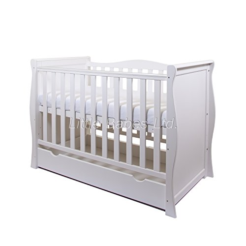 New White Sleigh Cot With Drawer / Sleigh Mini Cot Bed + ECO HD Airflow Nursery Fibre Mattress 120x60x10cm - Standard Cot Converts to Junior Bed/Toddler Bed