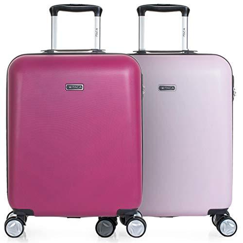 ITACA - Pack 2 Maletas de Viaje rígidas 4 Ruedas 55x40x20 cm Cabina Trolley abs. Equipaje de Mano. s y Ligeras. Mango asa candado. Low Cost ryanair. t58050p, Color Fucsia-Gris/Rosa-Gris