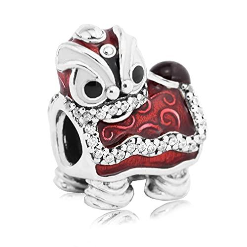 LIIHVYI Pandora Charms para Mujeres Cuentas Plata De Ley 925 Joyería Original De La Danza del León Chino DIY Compatible con Pulseras Europeos Collars