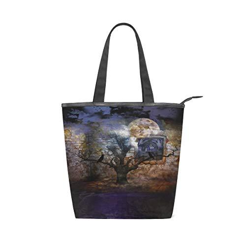 FANTAZIO Damen Handtasche Kunstbaum Muster Cavas Handtasche