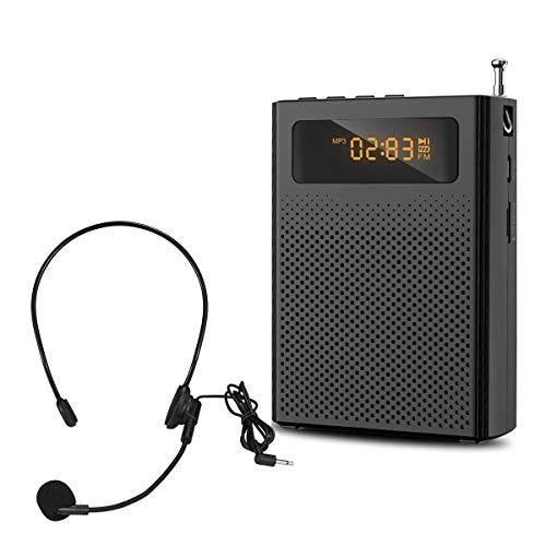 Portable Microphone and Speaker Personal Voice Amplifier for Teachers Clip On Rechargeable Waistband Supports AUX MP3 Works for Coaches, Training, Presentation, Tour Guide Black