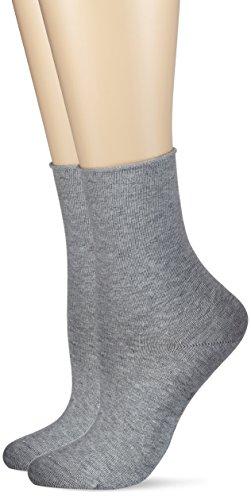 Hudson Damen Socken mit Rollrand, 025101 Only, 2er Pack, Gr. 39/42, Grau (Silber 0502)