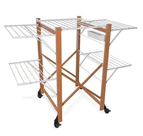 Arredamenti Italia torkställning Aliante, trä – hopfällbar – utdragbar 25 m koppel – färg: Körsbär trä Ar-It il cuore del legno