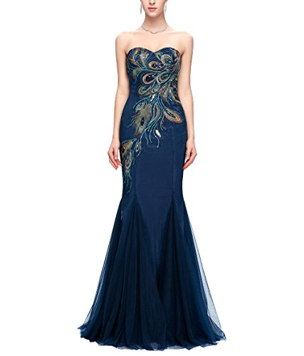 Quintion Norris Prom Dresses Long 2018 Sweetheart Peacock Embroidery Evening Gown