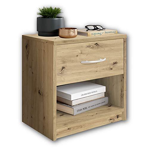 Stella Trading PEPE in rovere artigianale-Semplice comodino a un cassetto da abbinare a qualsiasi camera da letto, Engineered Wood, 39 x 41 x 28 cm