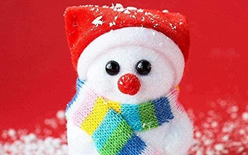 NC83 Kit de Punto de Cruz Sombrero Rojo muñeco de Nieve marioneta DIY Kits dePunto deCruz11CT decoración del hogar 40 × 50cm